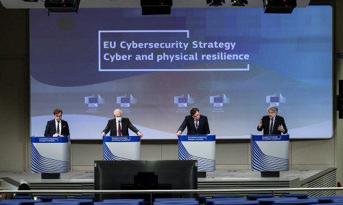 EU Commissioners and chief at an online news conference.